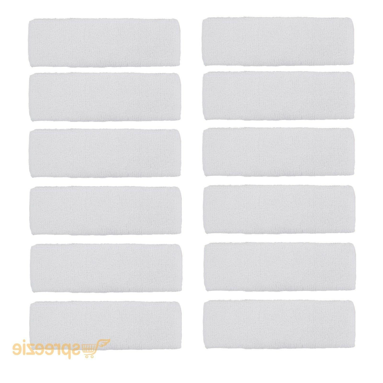 12 pack white sweatband terry cotton headband