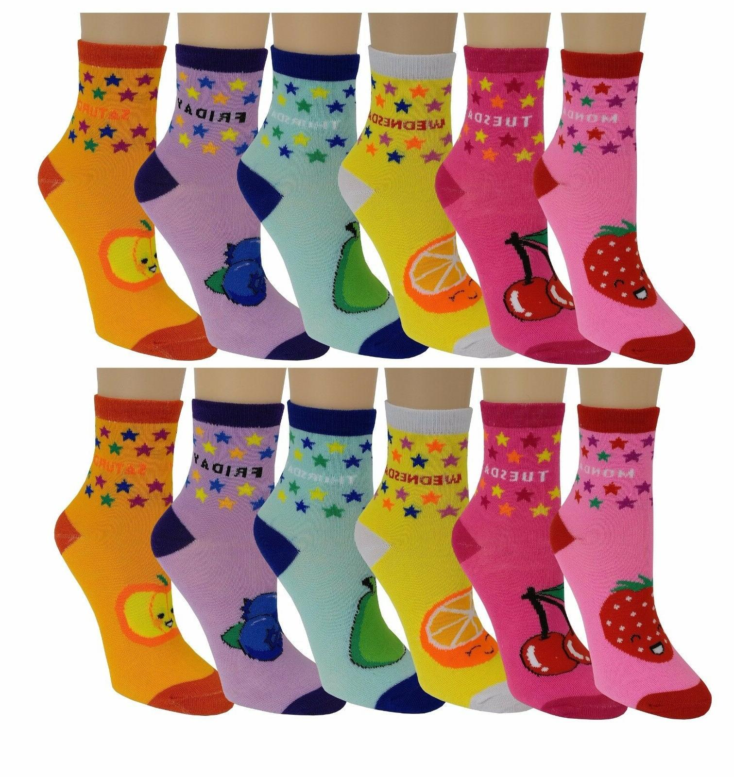 Ayla 12 Pairs Pack Kids Girls Colorful Creative Fun Design Socks