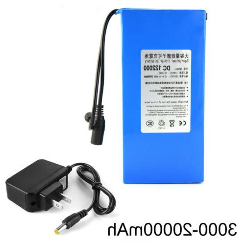 12V Lithium Rechargeable Li-ion Pack+ PLUG Charger