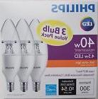 3-Pack LED Philips 40W Soft White Dimmable decorative B11  C