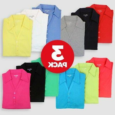 3 pack womens polo jersey tops t