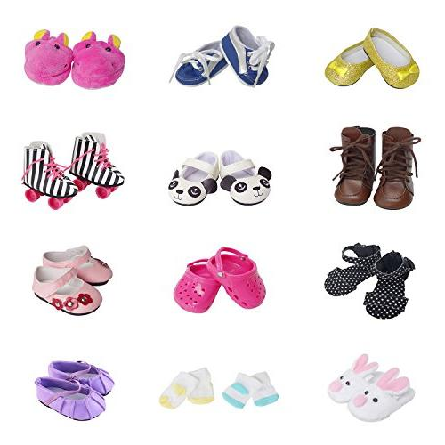 5 Pairs of Shoes + 2 Pairs of Socks Fits for 18 inch Doll Sh