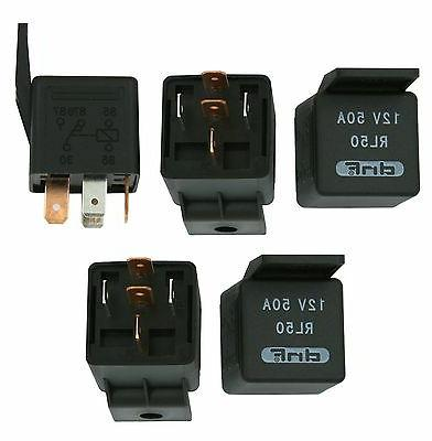 5 PACK 50 AMP 12V BOSCH STYLE RELAY CAR ALARM AUTOMOTIVE + S
