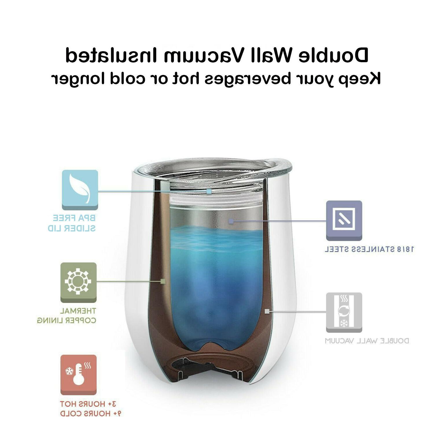 6 12 oz Stainless Steel Insulated Wine Tumbler with Stemless