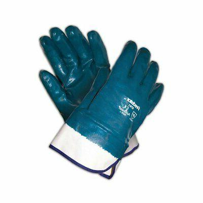 MCR Safety 9761 Predator Fully Coated Nitrile Gloves, Blue/W