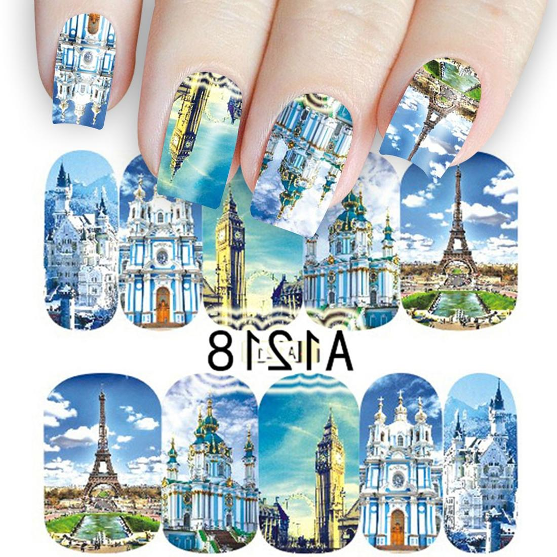 <font><b>12</b></font> <font><b>Pack</b></font> Tower Manicure Wraps Europe Sky Buildings Decals Tatto