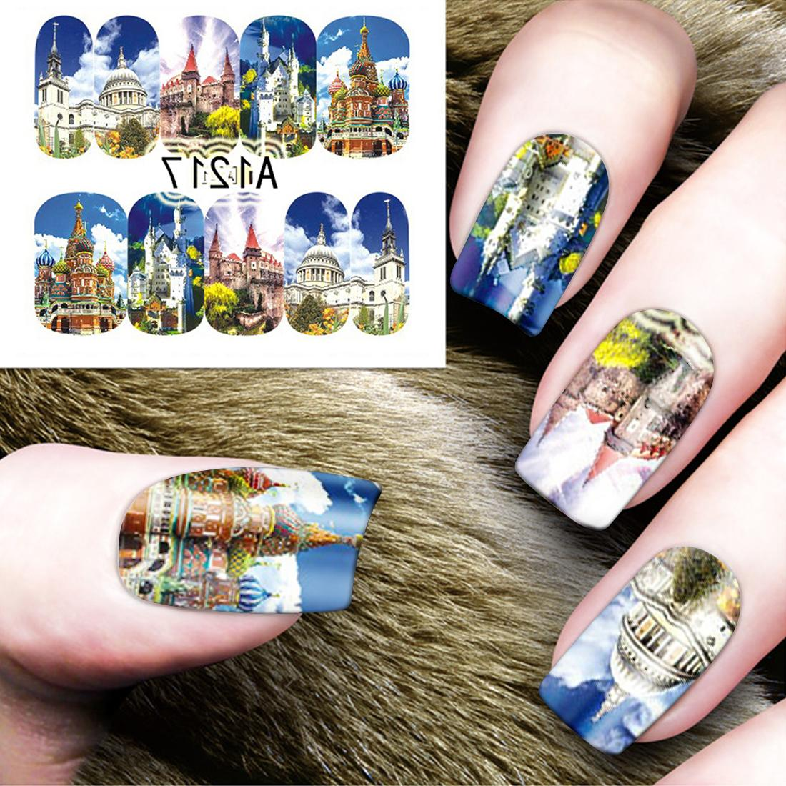 <font><b>12</b></font> <font><b>Pack</b></font> Tower Manicure Europe Sky Water Decals Fingertip Tatto
