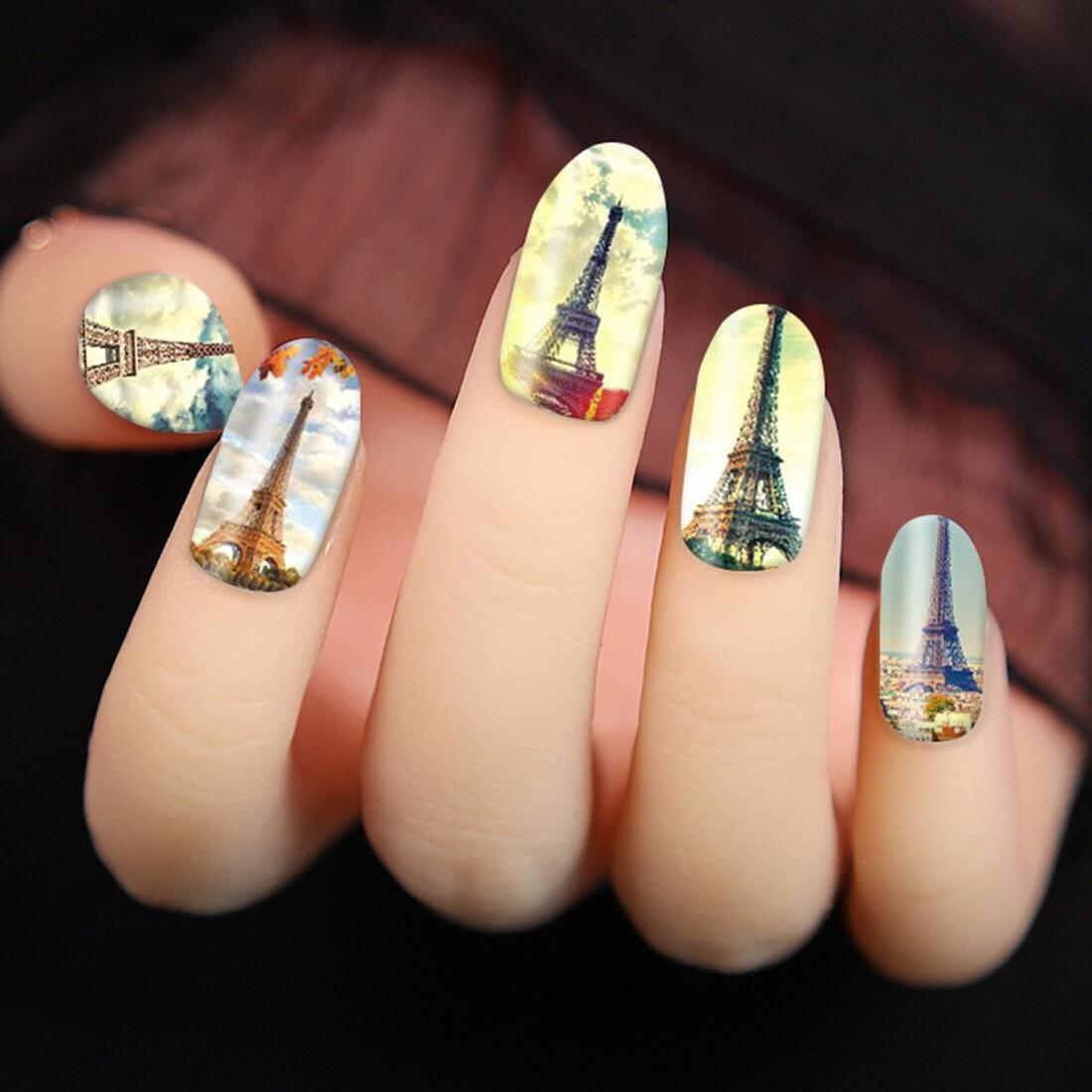 <font><b>12</b></font> Paris Tower Design Sticker Manicure Europe Sky Water Decals Tatto