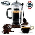 French Press Coffee Maker Leaf Tea Carafe Stainless Steel Fi