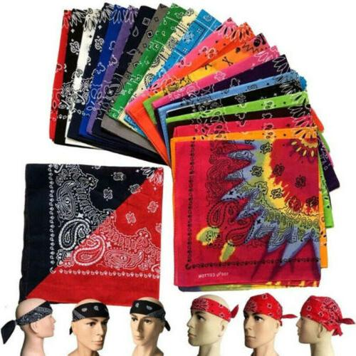 Pack 12 Large Paisley Bandanas 22 IN 100% COTTON Multi Colors
