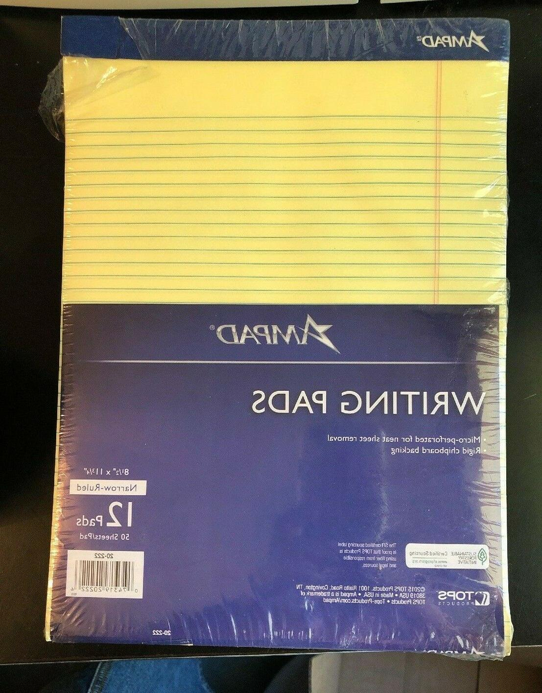 pack of 12 writing pad 50 yellow