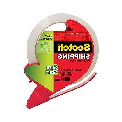 Scotch Sure Start Shipping Tape With Dispenser, 1 7/8in. x 5