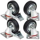 """Swivel Caster Wheels 3"""" Rubber Base with Top Plate & Bearing"""