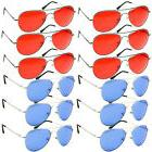 WHOLESALE Lot of 12 Aviator Style COLORED Lens Metal SUNGLAS
