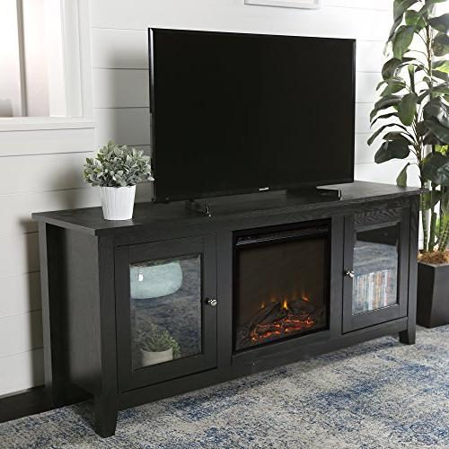wide fireplace television stand black