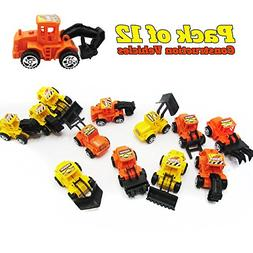 12 Pack Construction Vehicles Pull Back Style -Play Vehicles