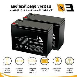 PACK OF 2 12V 10AH RECHARGEABLE SEALED LEAD ACID BATTERY for