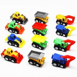 12 Pack Pull Back Vehicles, Assorted Construction Vehicles D