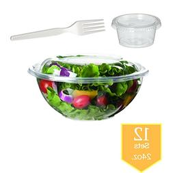 Salad Bowls to go with Lids/forks/souse cups  - Clear Plasti