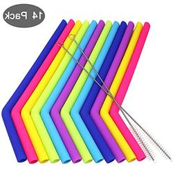 12 Pack Silicone Straws, YuCool Reusable Extra Long Straw wi