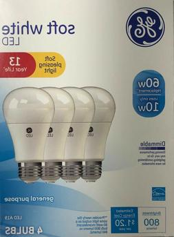 4 PACK GE LED 60W = 10W Soft White Dimmable 60 Watt Equivale
