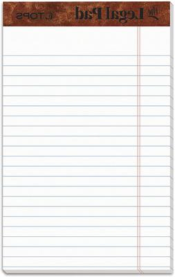 TOPS The Legal Pad Writing Pads, 5' x 8', Jr. Legal Rule, 50