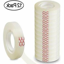 Transparent Tape 1/2 Inch Invisible 12 Pack Clear Refills Fo